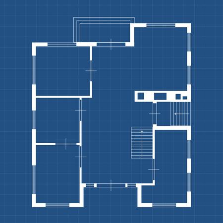 illustration of blueprint some house white color on blue backgound Zdjęcie Seryjne - 62785183