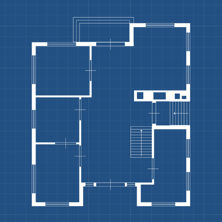 illustration of blueprint some house white color on blue backgound