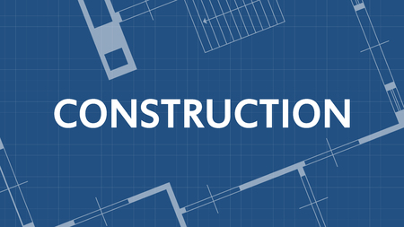 house construction: illustration of blueprint construction word and house on blue backgound