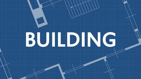 illustration of blueprint building word and house on blue backgound Illustration