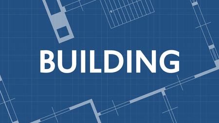 illustration of blueprint building word and house on blue backgound Illustration