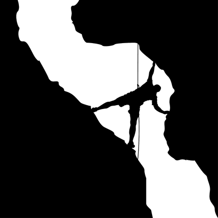 rock climber: illustration of black color male rock climber silhouette in valley