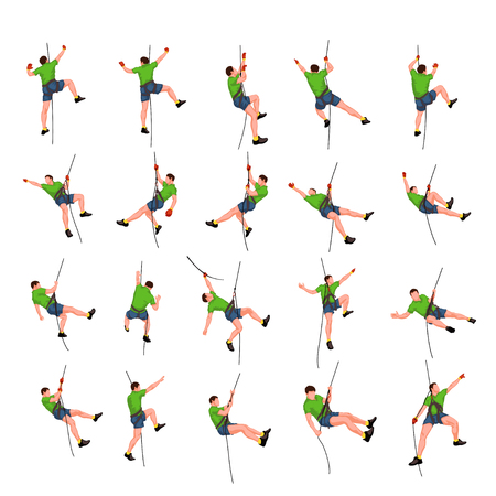 rock climber: illustration of set male rock climber colored on white background