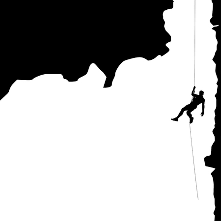 illustration of black color male rock climber silhouette hanging in big valley Vettoriali