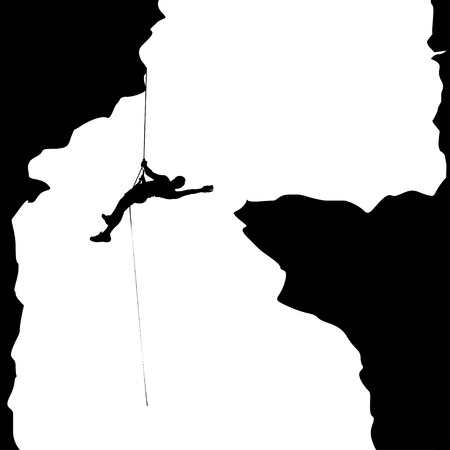 crampon: illustration of black color male rock climber silhouette hanging in big cave