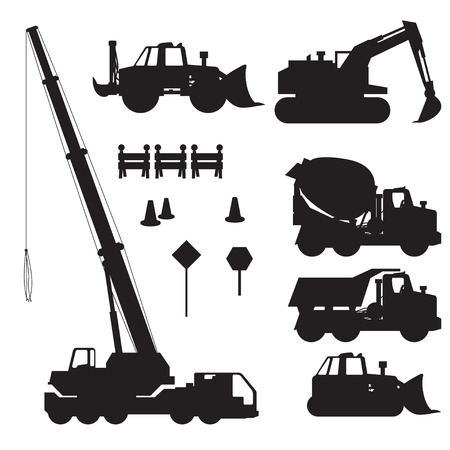 road scraper: illustration of set construction vehicle silhouette on white background