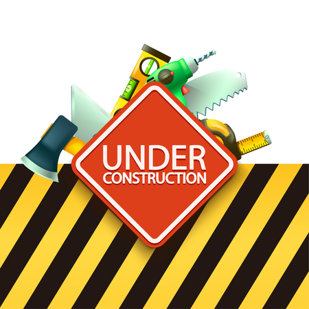 warning saw: illustration of red under construction sign with some tools behind with yellow blkack stripped background Illustration
