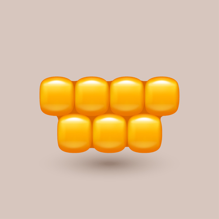 husk: illustration of gold color corn cells with shadow on bright background Illustration