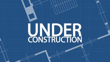 floorplan: illustration of blueprint under construction word and house on blue backgound