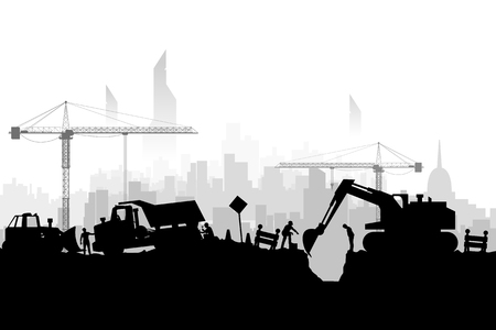 megapolis: illustration of silhouette construction vehicles digging a hole on megapolis background