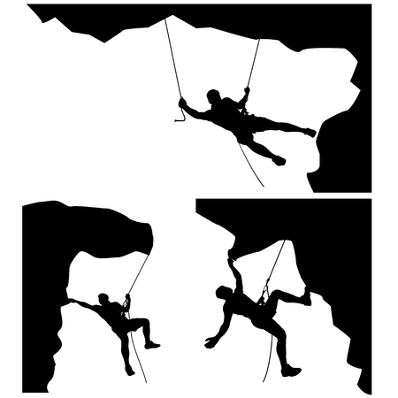 situations: illustration of set of male rock climber silhouette in differrent situations on white background