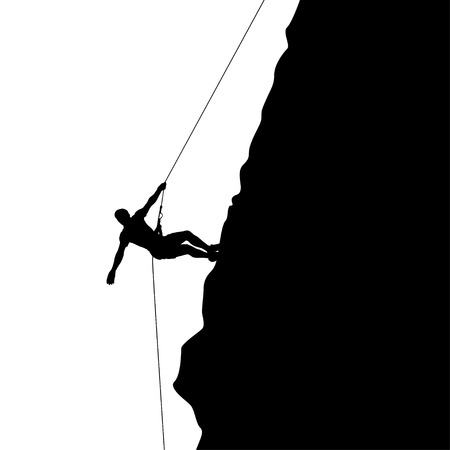 crampon: illustration of black color male rock climber silhouette on white background Illustration