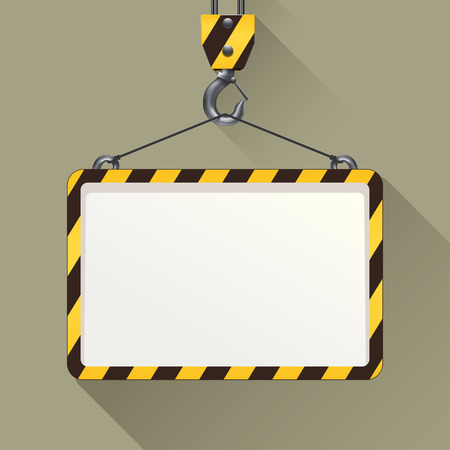 illustration of construction hook with banner on grey background Illustration