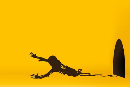 crawl: illustration of crawl silhouette zombie on yellow background Illustration