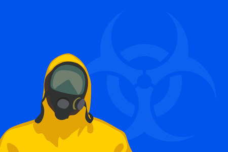 environmental suit: illustration of man in yellow biohazard protective siut with hazardous sign on blue background