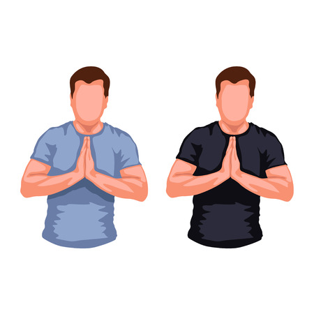devout: illustration of set of two male silhouettes praying on white background Illustration