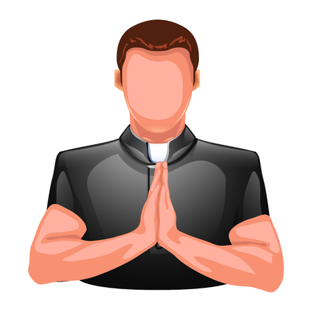 cassock: illustration of praying priest colred silhouette isolated on white backgorund