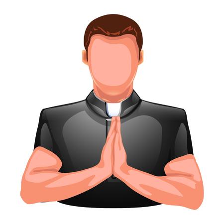 sotana: ilustración de la silueta de la oración colred sacerdote aislado en blanco backgorund Vectores