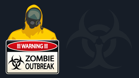 nuclear accident: illustration of man in yellow biohazard protective siut with zombie sign on dark blue background