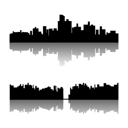 illustration of set of black color city silhouette with reflection on white background Иллюстрация