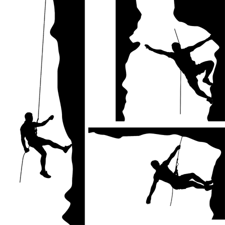 risky: illustration of set of male rock climber silhouette in differrent situations on white background