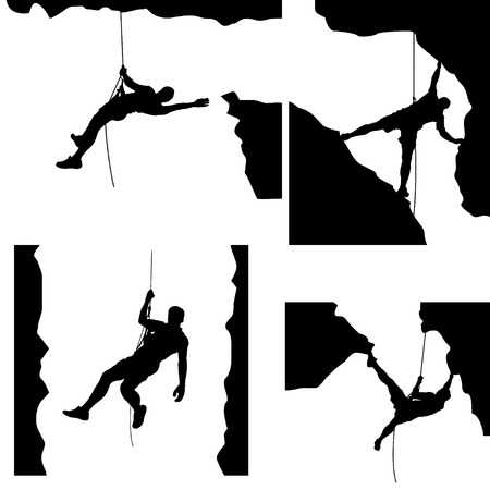 crampon: illustration of set of male rock climber silhouette in differrent situations on white background