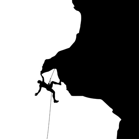 rock climber: illustration of black color male rock climber silhouette holding
