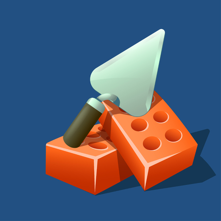 illustration of metal trowel lying on couple red bricks on blue background