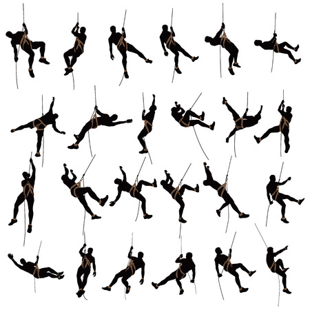 illustration of set of male rock climber silhouette isolated on white background  イラスト・ベクター素材