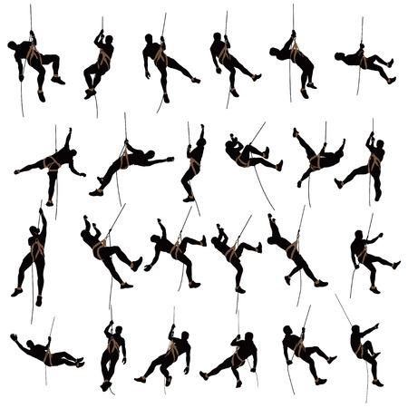 illustratie van de set van mannelijke rock klimmer silhouet op een witte achtergrond Vector Illustratie