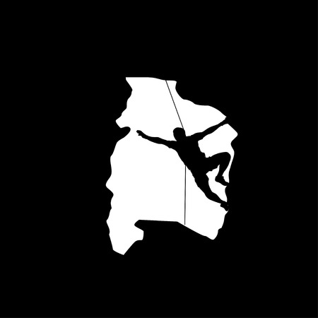 crampon: illustration of black color male rock climber silhouette in cave