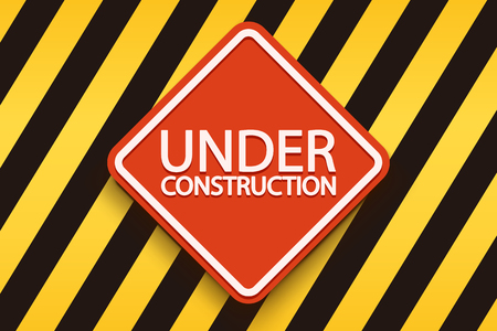 black yellow: illustration of red under construction sign with stripped yellow black background