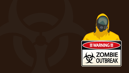 gas mask warning sign: illustration of man in yellow biohazard protective siut with zombie sign on brown background