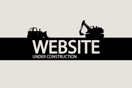 tractor warning sign: illustration of under construction website silhouette with vehicles