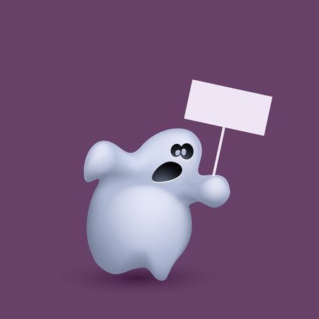 phantom: illustration of running ghost with board on violet background