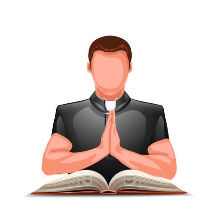 sotana: ilustración de rogación sacerdote color de la silueta con el libro abierto Vectores