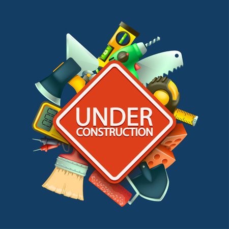illustration of red under construction sign with a lot of differnt tools on blue background 일러스트