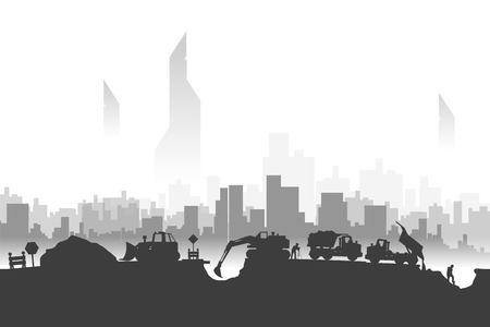 illustration of construction silhouettes and big city behind Vetores