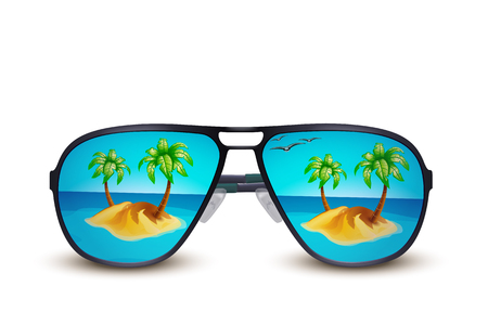 illustration of island in the sea illustrated on sunglasses on white background Illustration