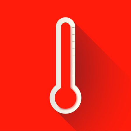 illustration of red color thermometer with shadow on red background Illustration