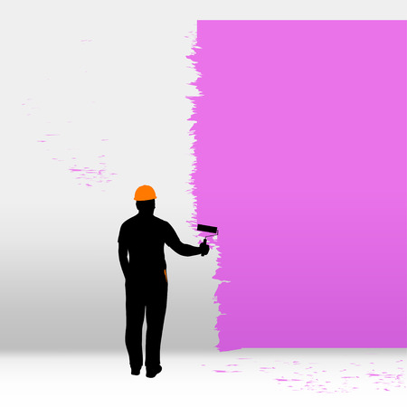 whitewash: illustration of male painter with helmet with brush painting pink color Illustration