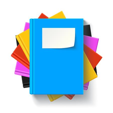 影といくつかの色の本を横になっているの図