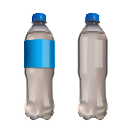 nonalcoholic: illustration of realistic water palstic bottle with blue cap isolated Illustration