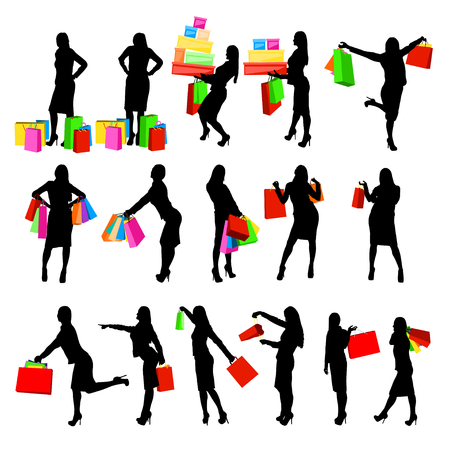 happy shopper: illustration of set of pretty woman silhouette shopping in different poses