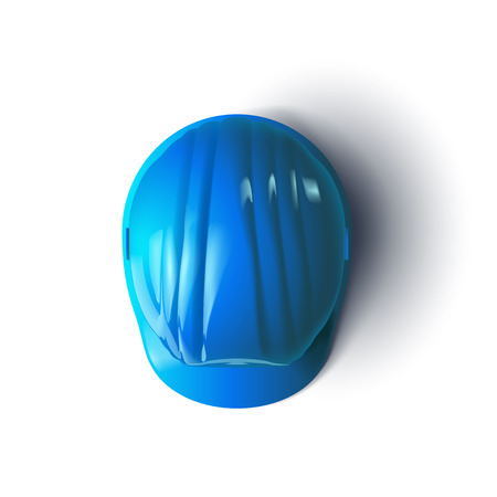 construction helmet: illustration of blue color construction helmet with shadow on white background