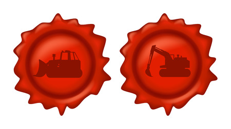 waxseal: illustration of red wax stamp with construction vehicles on it on white background