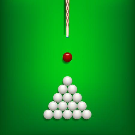 billiards cue: illustration of billiards balls on green billiard table and cue with shadows Illustration