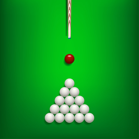 illustration of billiards balls on green billiard table and cue with shadows Illustration