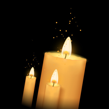 alone in the dark: illustration of three burning candles in the darkness