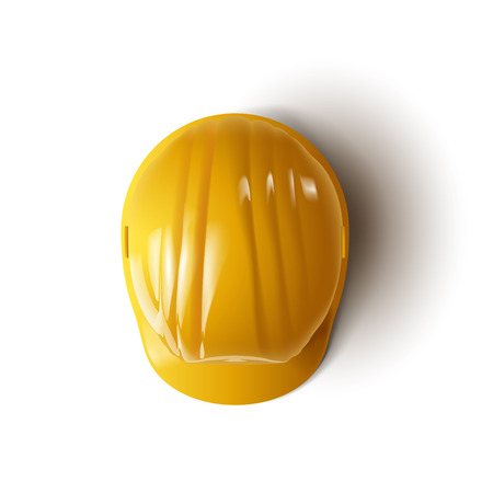illustration of yellow construction helmet on white background with shadow Illustration
